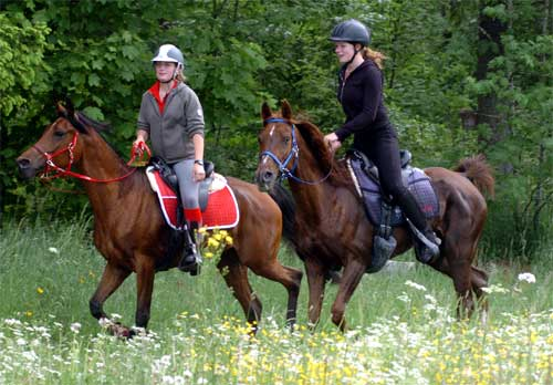 Fabienne mit 'Maya' und Leonie mit 'Matja'